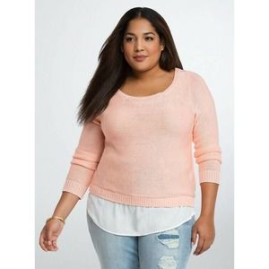 Torrid Reverse Stitch Twofer Sweater Peach Melba